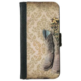 Vintages Cowboystiefel-Westernland iPhone 6 Geldbeutel Hülle