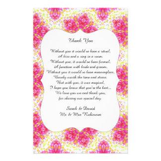 Vintages Damast-Hochzeits-Gedicht danken Ihnen, 14 X 21,6 Cm Flyer