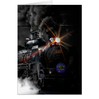 Vintages Dampf-Motor-Schwarz-sich fortbewegender Mitteilungskarte