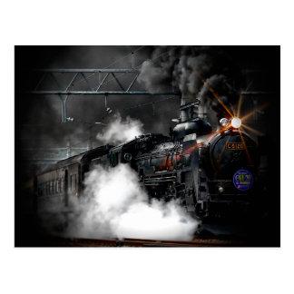 Vintages Dampf-Motor-Schwarz-sich fortbewegender Postkarte