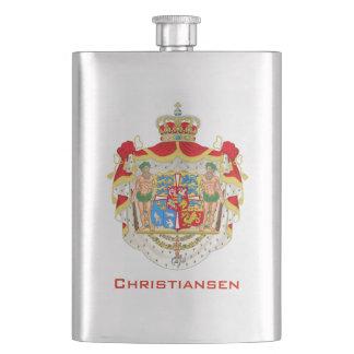 Vintages dänisches königliches Wappen von Dänemark Flachmann