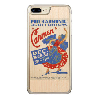 "Vintages darstellendes Plakat ""Carmens"" Kunst-WPA Carved iPhone 8 Plus/7 Plus Hülle"