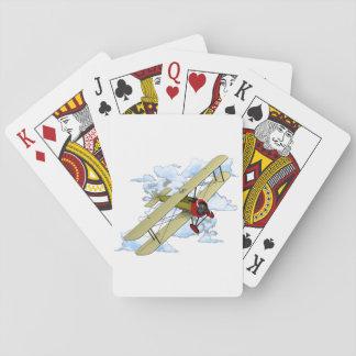 Vintages Doppeldecker-Fliegen Spielkarten