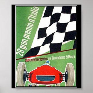 Vintages Druck-Plakat-Auto-Rennen Italien Monza
