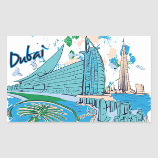 Vintages Dubai wir e-Entwurf Rechteckiger Aufkleber