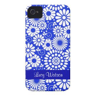 Vintages dunkelblaues mit BlumenBlackBerry-mutiger iPhone 4 Etuis