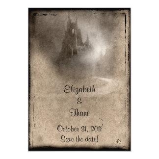 Vintages dunkles Schloss-gotische Hochzeit 12,7 X 17,8 Cm Einladungskarte