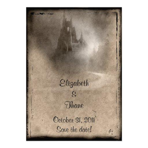 Vintages dunkles Schloss-gotische Hochzeit Personalisierte Einladung