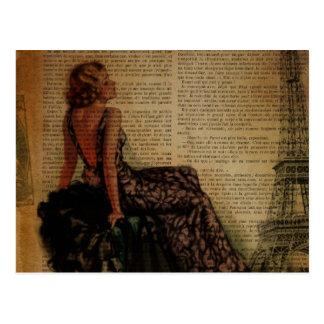 Vintages Eiffel-Turm Paris-Button herauf Mädchen Postkarten