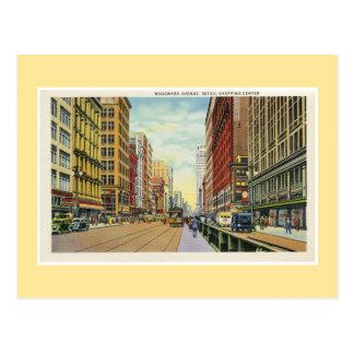 Vintages Einkaufszentrum Detroits Woodward Handels Postkarten