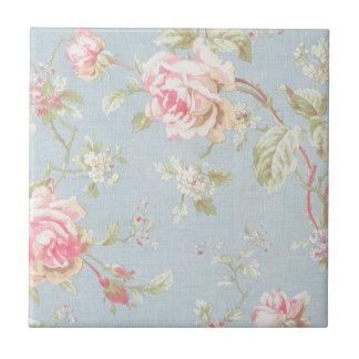 Vintages elegantes, hellblau, rosa, Rosenmuster Kleine Quadratische Fliese