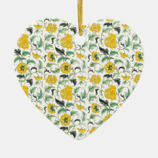 Vintages elegantes Muster-Gelb, weißes Blumen-GIF Keramik Ornament