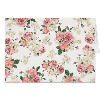 Vintages elegantes rosa Rosen-Muster Karte