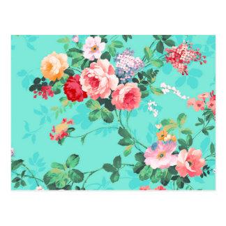 Vintages elegantes rosarotes gelbes Rosen-Muster Postkarten