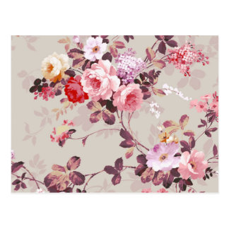 Vintages elegantes rosarotes lila Rosen-Muster Postkarte