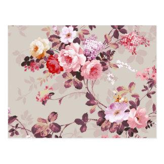 Vintages elegantes rosarotes lila Rosen-Muster Postkarten
