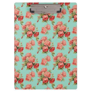 Vintages elegantes rosarotes Rosen-Muster Klemmbrett