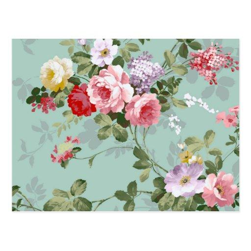 Vintages elegantes rosarotes Rosen-Muster Postkarten