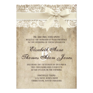 Vintages Eleganz-Band auf Einladungskarte