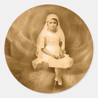 Vintages erstes Kommunions-Mädchen, Kleid, Schleie Sticker