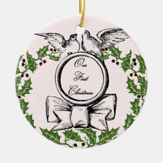 Vintages erstes Weihnachten Keramik Ornament