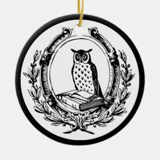 Vintages Eulen-und Buch-Buchzeichen Keramik Ornament