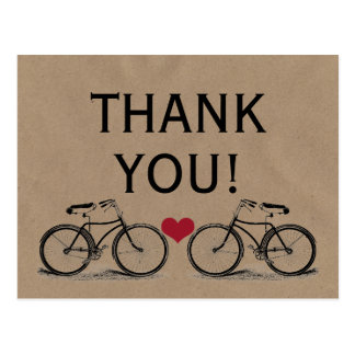 Vintages Fahrrad danken Ihnen Hochzeits-Postkarten