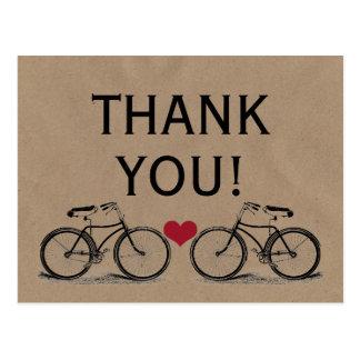 Vintages Fahrrad danken Ihnen Hochzeits-Postkarten Postkarte
