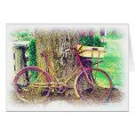Vintages Fahrrad mit Blumen-Korb Grußkarte