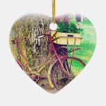 Vintages Fahrrad mit Blumen-Korb Weihnachtsornament