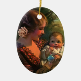 Vintages Familien-Porträt der Mutter Tagesmit Baby Keramik Ornament