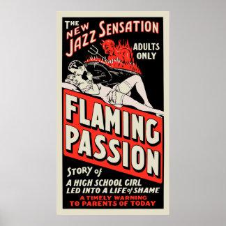"""Vintages Film-Plakat - """"lodernde Leidenschaft """""""