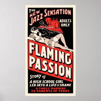 """Vintages Film-Plakat - """"lodernde Leidenschaft """" Poster"""