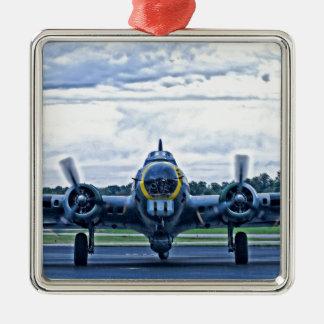 Vintages Flugzeug-Fliegen des Flugzeug-B17 Silbernes Ornament