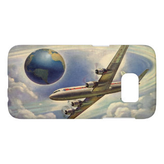 Vintages Flugzeug-Fliegen um die Welt in den