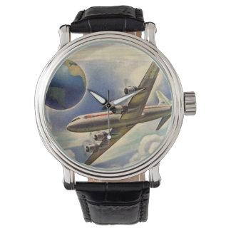 Vintages Flugzeug-Fliegen um die Welt in den Uhr