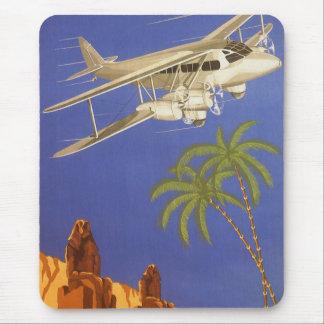 Vintages Flugzeug Reise-Plakat-Kairos Ägypten Mousepads