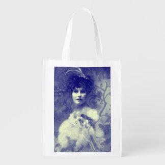 Vintages Foto-schöne Frau, blau Wiederverwendbare Einkaufstasche