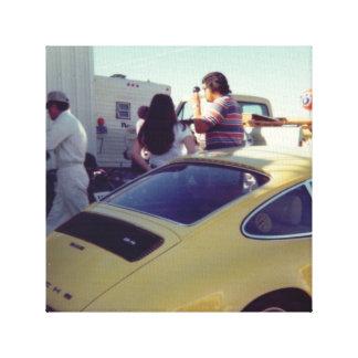 Vintages Fotografie-Gelb-Sport-Auto Gespannter Galerie Druck