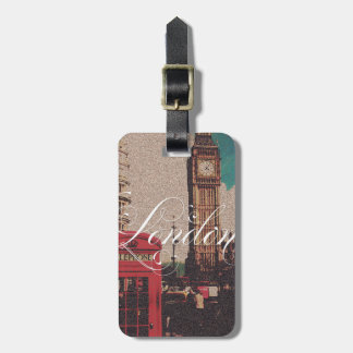 Vintages Fotomonogramm London-Sehenswürdigkeit Kofferanhänger