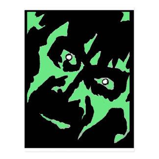 Vintages Frankenstein Monster-Grün-Schwarzes Retro Postkarte