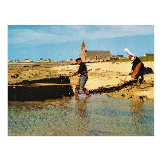 Vintages Frankreich, Bretagne,    Fischerboote auf Postkarte