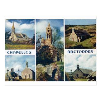 Vintages Frankreich, Bretagne, Kirchen und Postkarte