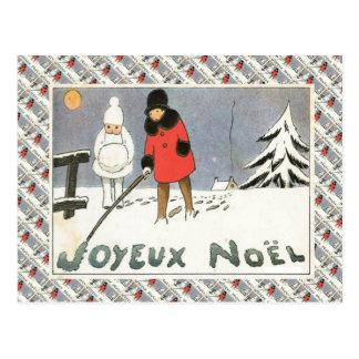 Vintages Frankreich, Mädchen in einer Postkarte