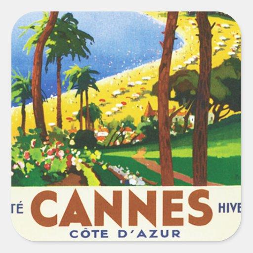 Vintages Franzose-Reise-Plakat Cannes Cote d'Azur Quadrataufkleber