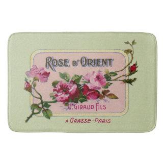 Vintages französisches Parfüm-Blumenanzeigen-Kunst Badematte