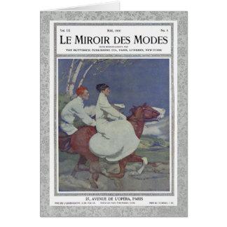 Vintages französisches Titelseitemit Pferdereiten Karte