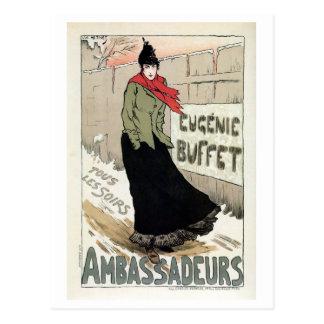 Vintages französisches weiblicher Sänger Eugénie Postkarte