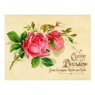 Vintages französisches Werbeschild für Schokolade Postkarte