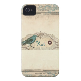 Vintages französisches Zeitungs-Vogel-BlackBerry iPhone 4 Hülle